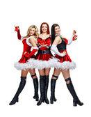 Flicka och christmas bells — Stockfoto