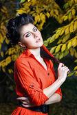 Attraktiva flicka i parken hösten — Stockfoto
