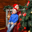 Brother, sister and christmas — Стоковое фото
