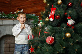 Boy and Christmas tree — Stock Photo