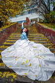 Bride on stairs — Stock Photo
