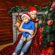 Brother, sister and christmas — Stok fotoğraf