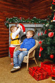 Brothers near Christmas tree — Stock Photo