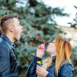 Couple starts soap bubbles — Stock Photo #39688867