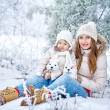 Mother and daughter in winter forest — Stock Photo #41465021