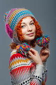 Dívka v pletené čepici — Stock fotografie