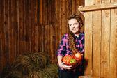 Teen girl on farm — Stock Photo