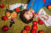 Girl in the hayloft — Stock Photo