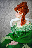 Princess in magnificent green dress — Stock Photo