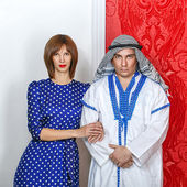 Arab and his wife — Stock Photo