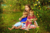 Sisters and brother in the garden — Stock Photo
