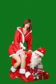 Santa claus en sneeuw meisje — Stockfoto