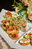 Restaurant food canapes appetizers — Stock Photo