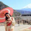 Stock Photo: Japanese kimono womwith traditional red umbrellwith Fuji in background