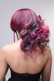 Portrait of a beautiful girl with dyed hair, professional hair coloring — Stock Photo