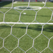 White football net, green grass ,futsal goal  — Stock Photo