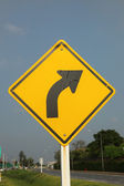 Right curve traffic sign — 图库照片
