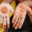 Close up of indian henna hand painting — Stock Photo