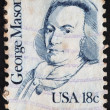 Stock Photo: US- CIRC1981: stamp printed in USshows portrait of George Mason (1725-1792), circ1981