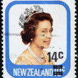 NEW ZELAND - CIRCA 1970: An Used First Class Postage Stamp printed in New Zealand showing Portrait of Queen Elizabeth, circa 1970. — Stock fotografie