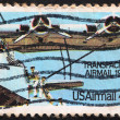 UNITED STATES - CIRCA 1985: A stamp printed in the United States, shows propeller aircraft, Transpacific Airmail 1935, circa 1985 — Stock Photo #32759073