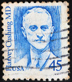 "USA - CIRCA 1988: A postage stamp printed by USA shows image portrait of famous American neurosurgeon Harvey Cushing. He is often called the ""father of modern neurosurgery."" Circa 1988. — Stock Photo"
