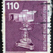 WEST GERMANY - CIRCA 1975: A stamp printed in West Germany shows studio TV camera, circa 1975  — Stock Photo
