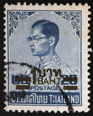 THAILAND - CIRCA 1973: A stamp printed in Thailand shows King Bhumibol Adulyadej, circa 1973 — Stock Photo