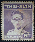 SIAM - CIRCA 1949: A stamp printed in Thailand shows portrait of King Bhumibol Adulyadej, circa 1949 — Stock Photo