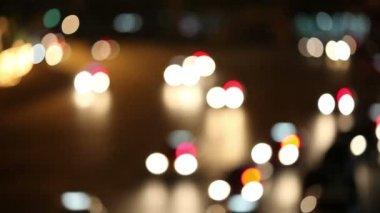 Defocused night traffic lights-Bangkok — Stock Video