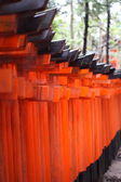 Famous bright orange torii gates of Fushimi Inari Taisha Shrine in Kyoto, Japan — Stock Photo