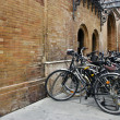 Group of bicycles in urban parking — Stock Photo
