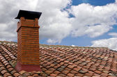 Chimney with stormy weather — Stockfoto