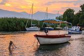 Sunset at Ohrid lake near Struga and Ohrid, Macedonia — Stock Photo