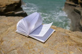 Book at beach reading on a summer time — Stock Photo