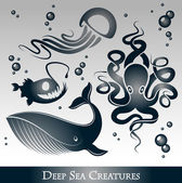 Vector Set of deep sea creatures — Stock Vector