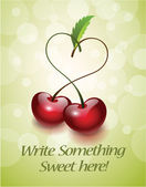 Cherries in Love Greeting Card — Stock Vector