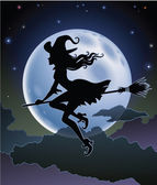Silhouette of a beautiful witch flying in front of a full moon — Stock Vector