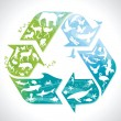 Recycling symbol with silhouettes of earth's animals — Stock Vector