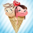 Ice cream scoops in love inside a cone — Stock Vector