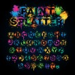 Colorful paint splatter alphabet — Stock Vector
