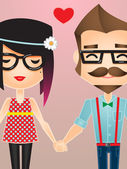 Vector illustration of a Hipster couple holding hands — Stock Vector