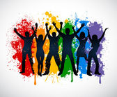 Colorful silhouettes of people supporing LGBT rights — Stock Vector