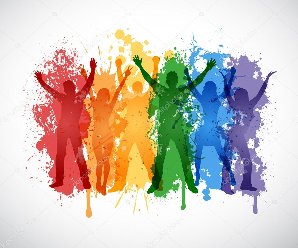 Colorful silhouettes of people supporing LGBT rights ... Colorful People