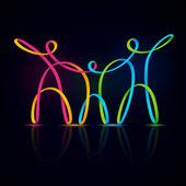 Three swirly figures holding hands — Stock Vector
