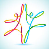 Coloridas figuras swirly bailando — Vector de stock