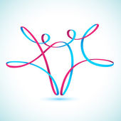 Dancing string figures vector — Stockvektor