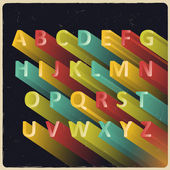 Long extruded vector alphabet with retro colors — 图库矢量图片