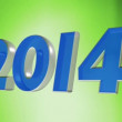 2014 happy new year, 3d animation of date 2014 on green loop background — Stock Video #32587063