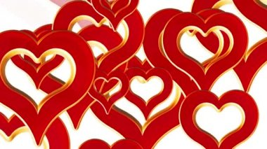 Flying hearts, wedding background, valentines day, red love hearts, alpha matte — Stock Video